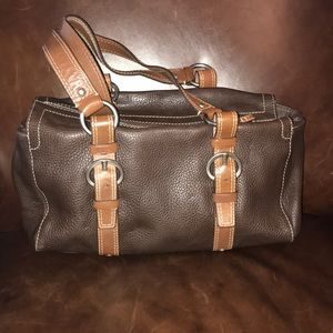 Coach brown leather handbag purse. EUC!